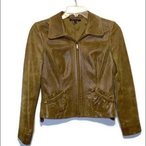 David Meister leather zip blazer jacket